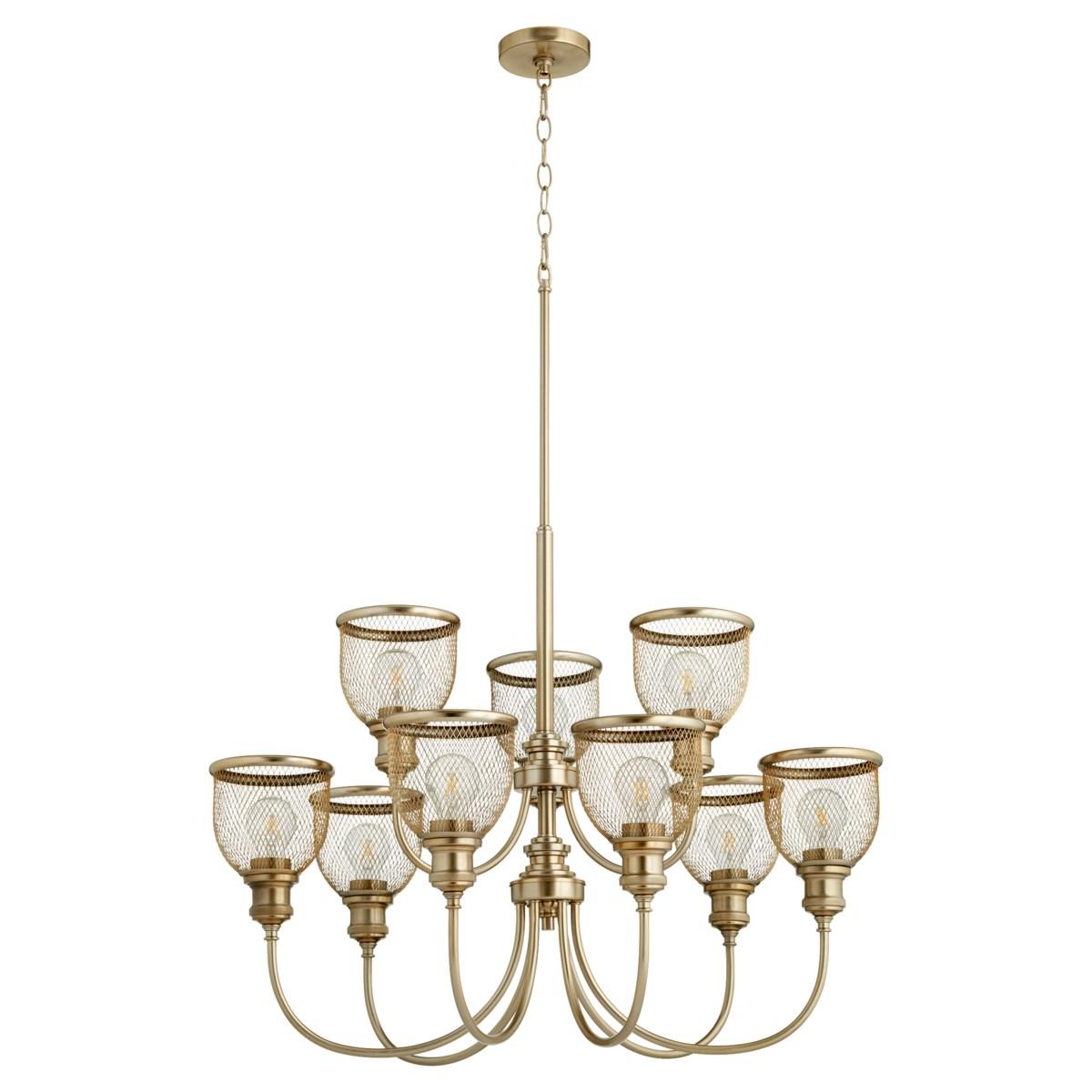 Omni 9 Light Aged Brass Industrial Chandelier