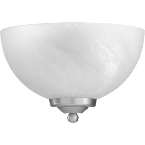 HEMISPHERE 1 Light Transitional Satin Nickel Wall Sconce