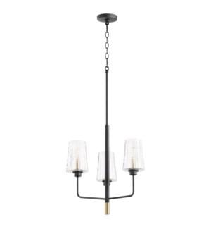 Dalia 3 Light  Black Soft Contemporary Chandelier