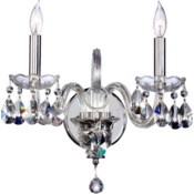 Bohemian Katerina 2 Light Traditional Chrome Imperial Crystal Wall Sconce