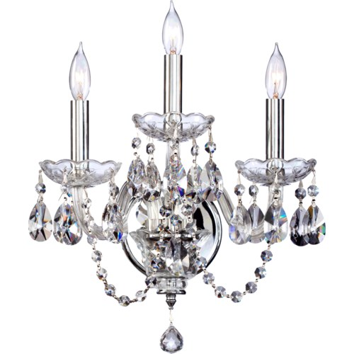 Bohemian Katerina 3 Light Traditional Chrome Imperial Crystal Wall Sconce