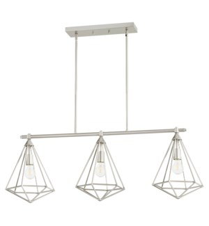 Bennett 3 Light Transitional Satin Nickel Linear Pendant