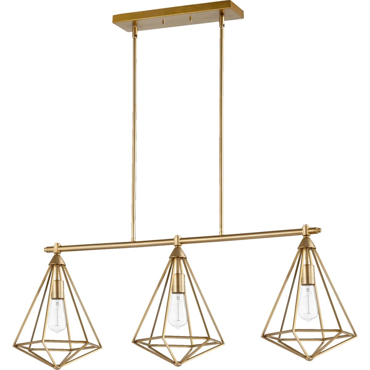 Bennett 3 Light Transitional Aged Brass Linear Pendant
