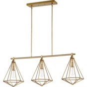 Bennett 3 Light Transitional Aged Brass Linear Pendant