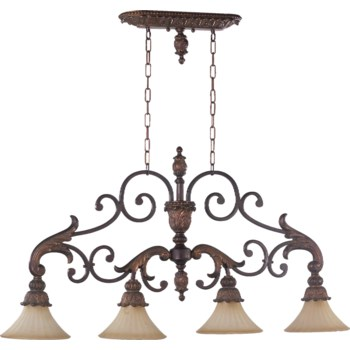 Madeleine 4 Light Traditional Corsican Gold Linear Pendant