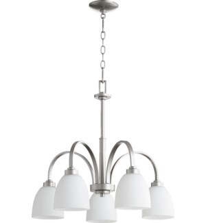 Reyes 5 Light Transitional Classic Nickel Chandelier