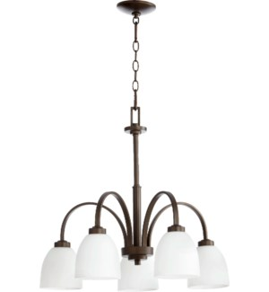 Reyes 5 Light Transitional Oiled Bronze Chandelier