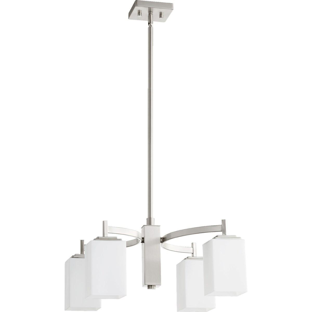 Delta 4 Light Modern and Contemporary Satin Nickel Chandelier
