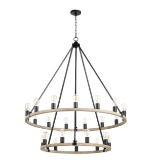 Paxton 24 Light  Black Transitional Chandelier