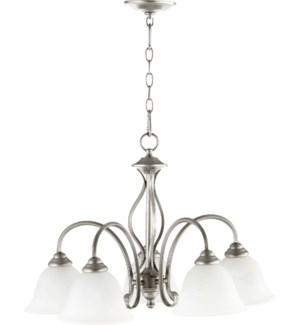 Spencer 5 Light Transitional Classic Nickel Chandelier