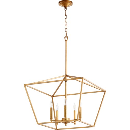 Gabriel 5 Light Traditional Gold Leaf Chandelier