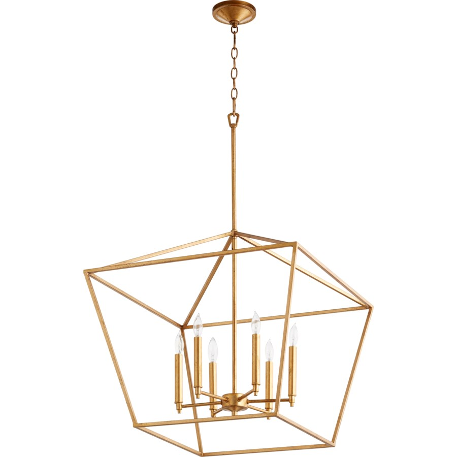 Gabriel 6 Light Traditional Gold Leaf Chandelier