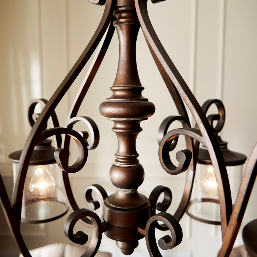 San Miguel 4 Light Traditional Vintage Copper Chandelier