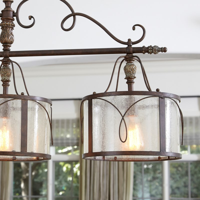 Salento 3 Light Traditional Vintage Copper Linear Pendant