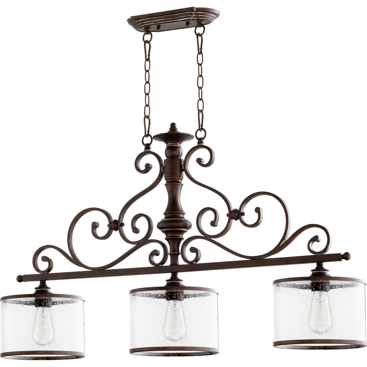 San Miguel 3 Light Traditional Vintage Copper Linear Pendant
