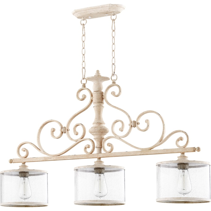 San Miguel 3 Light Traditional Persian White Linear Pendant