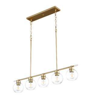 Volan 5-Light Aged Brass Linear Chandelier