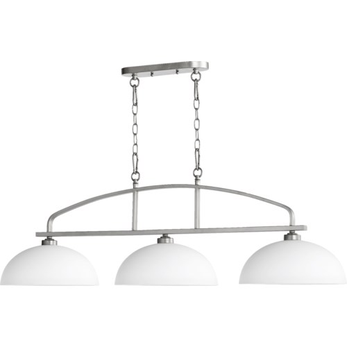 Reyes 3 Light Transitional Classic Nickel Linear Pendant