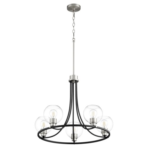 Clarion 5-Light Noir/Satin Nickel Chandelier