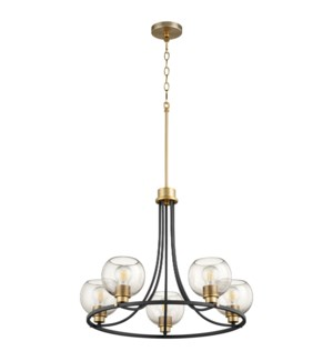 Clarion 5-Light Noir/Aged Brass Chandelier