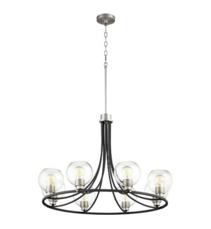 Clarion 8-Light Noir/Satin Nickel Chandelier