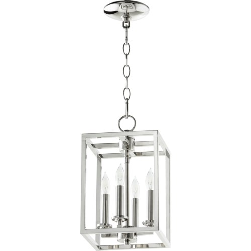 Cuboid 4 Light Polished Nickel Pendant