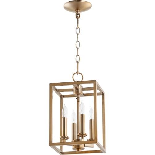 Cuboid 4 Light Aged Brass Pendant