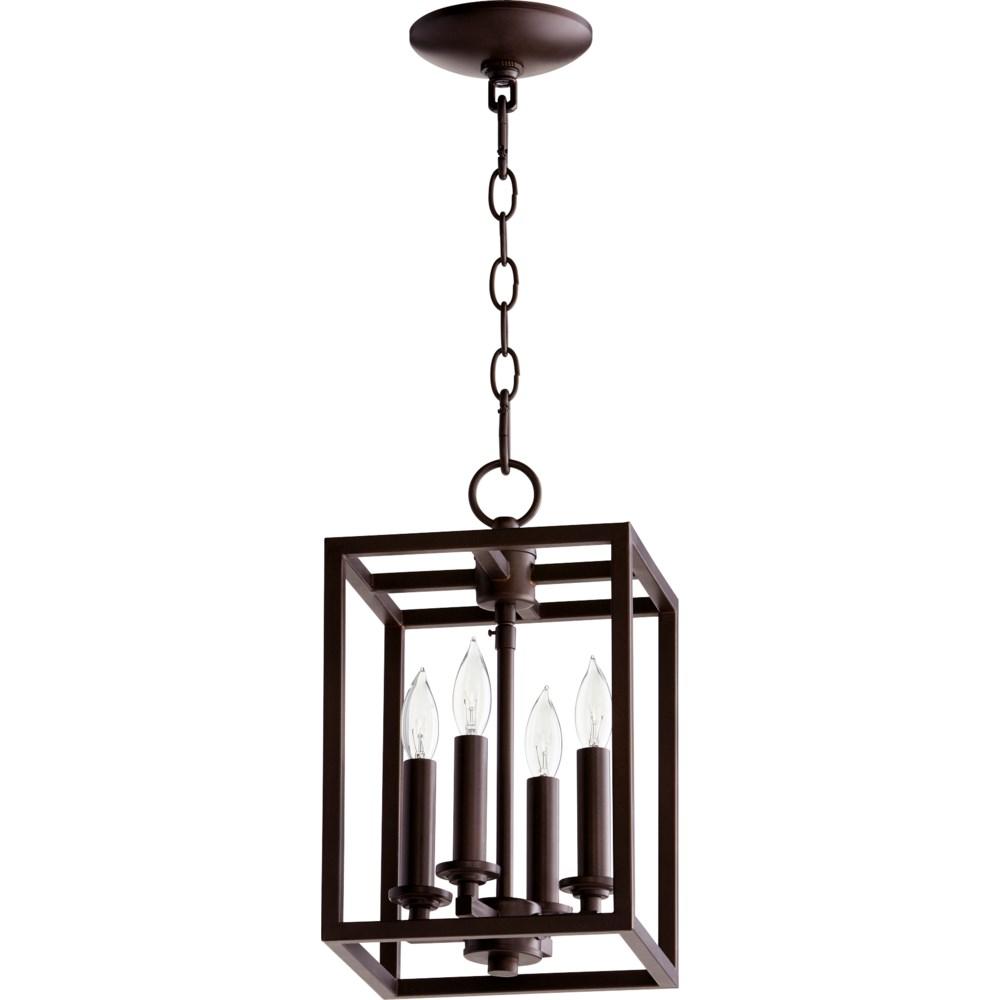 Cuboid 4 Light Oiled Bronze Pendant
