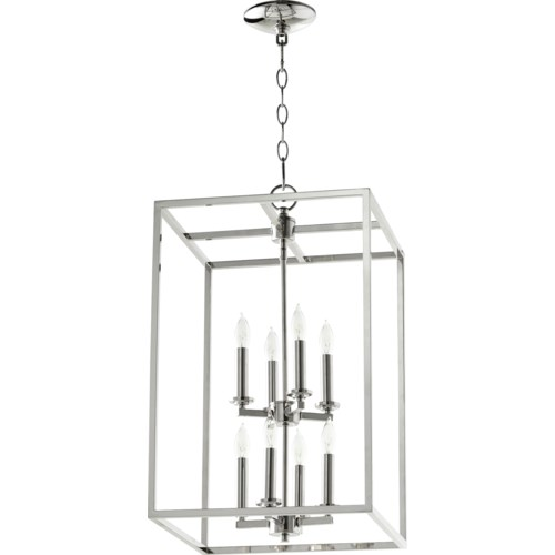 Cuboid 8 Light Polished Nickel Pendant