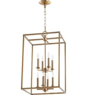 Cuboid 8 Light Aged Brass Pendant