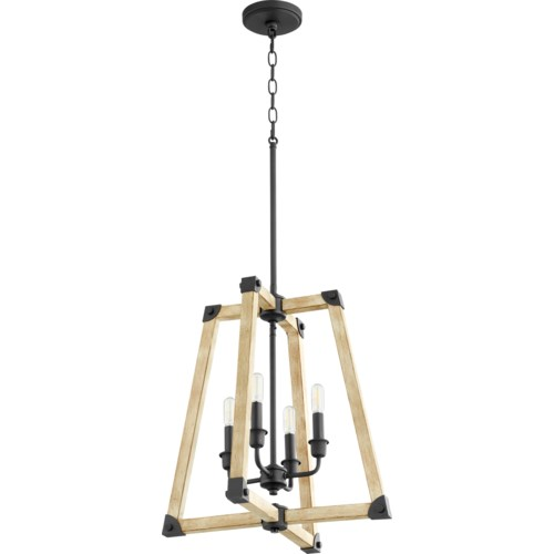 Alpine 4 Light Black with Driftwood Finish Pendant