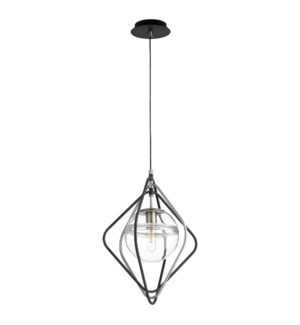 Gimble 1-Light Noir/Satin Nickel Pendant