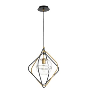 Gimble 1-Light Noir/Aged Brass Pendant