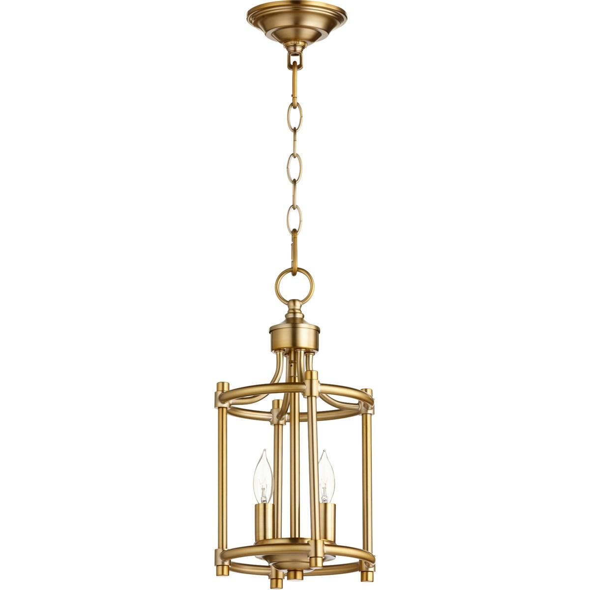 Rossington 2 Light Aged Brass Pendant