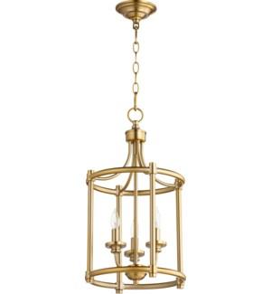 Rossington 3 Light Aged Brass Pendant