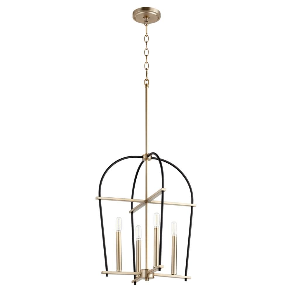 Espy 4 Light Black with Aged Brass Pendant