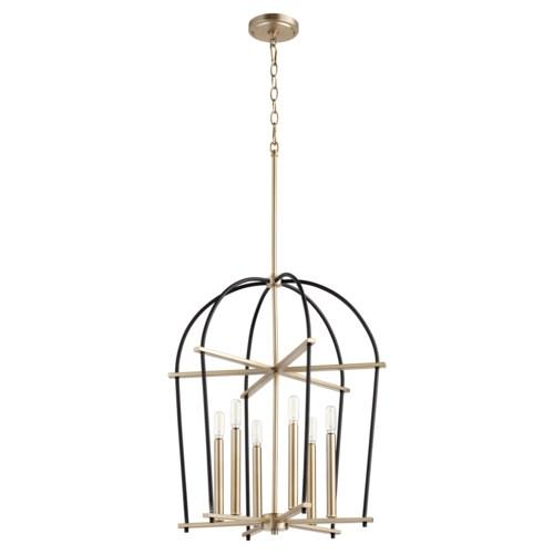 Espy 6 Light Black with Aged Brass Pendant