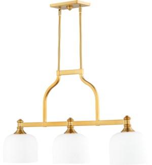 Richmond 3 Light Transitional Aged Brass Linear Pendant
