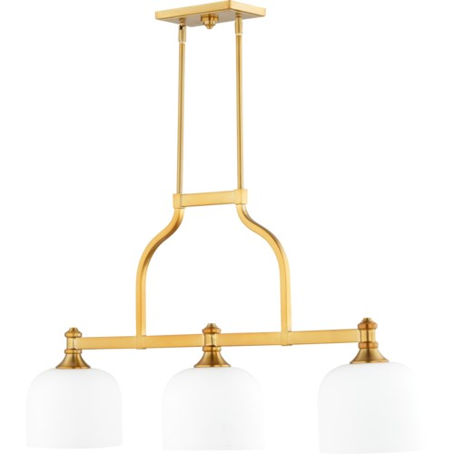 Richmond 3 Light Transitional Aged Brass Linear Pendant