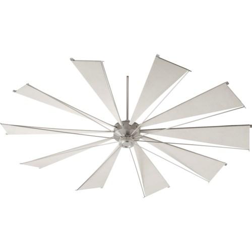 Mykonos 92-in 10 Blade Satin Nickel Transitional Ceiling Fan