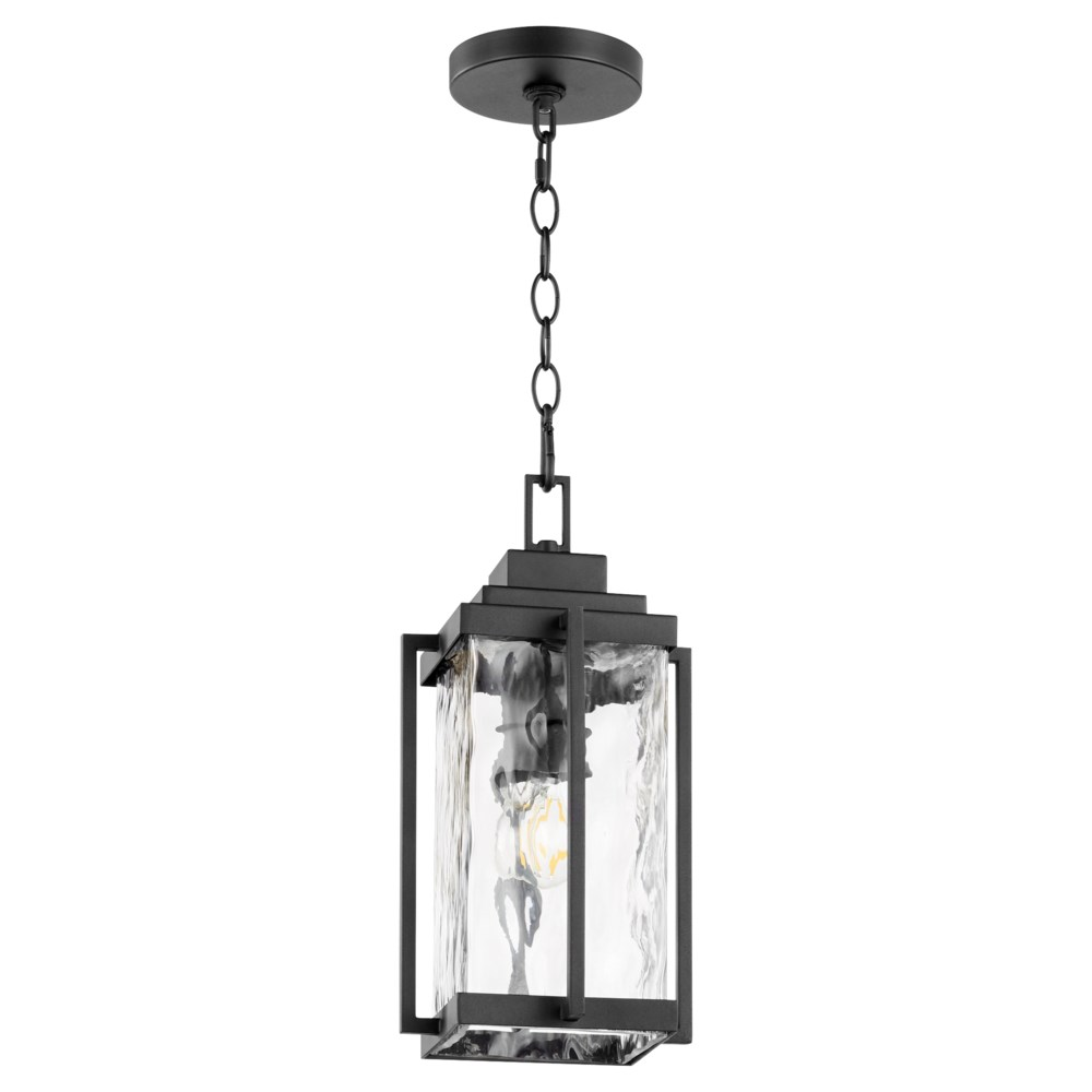 Domus Modern Outdoor Pendant Lantern - Noir with Clear Hammered Glass