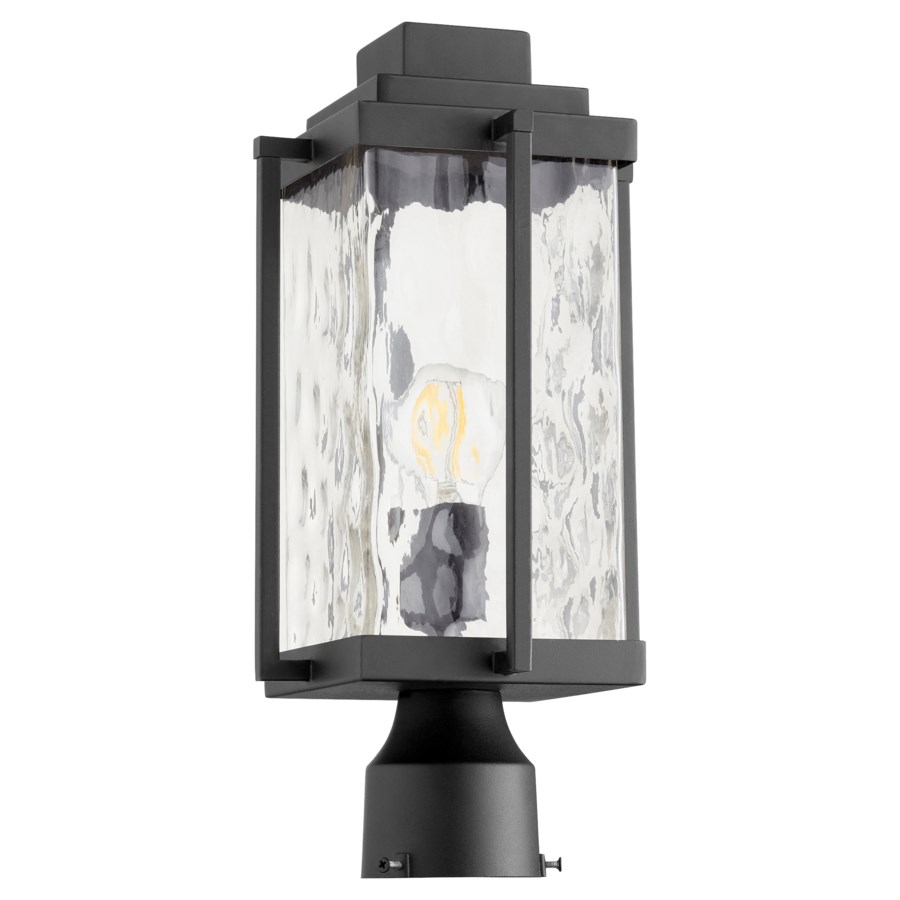 Domus Modern Outdoor Post Lantern - Noir with Clear Hammered Glass