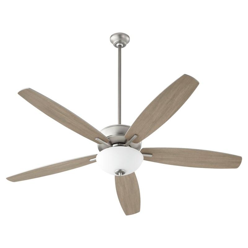 """Breeze 60"""" Satin Nickel Opal Bowl Ceiling Fan"""