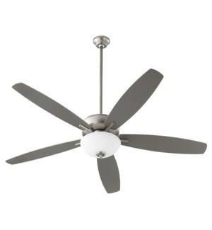 "Breeze 60"" Satin Nickel Opal Bowl Ceiling Fan"