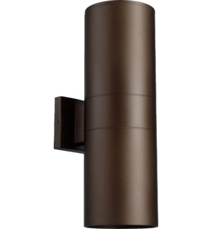 Cylinder 2 Light Modern and Contemporary Oiled Bronze Outdoor Wall Light