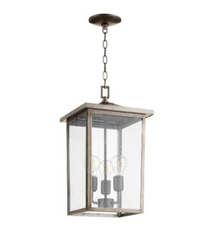 Riverside Weathered Zinc Transitional Outdoor Pendant