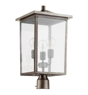 Riverside Weathered Zinc Transitional Outdoor Post Light