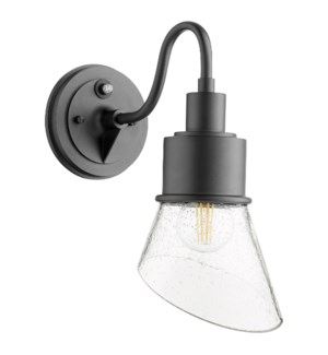 Torrey Black Clear Seeded - Modern Farmhouse Outdoor Wall Light with Photocell