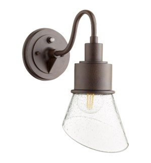 Torrey Oiled Bronze Clear Seeded - Modern Farmhouse Outdoor Wall Light with Photocell