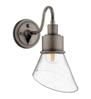 Torrey Weathered Zinc Clear Seeded Modern Farmhouse Outdoor Wall Light with Photocell